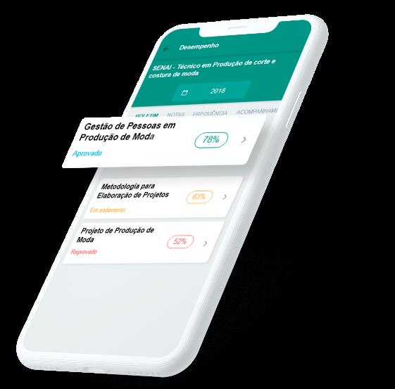 Celular com aplicativo do Espaço do Estudante
